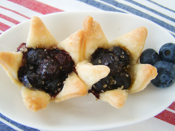 Blueberry Tart Mini Pies Shaped as Stars Fourth Of July